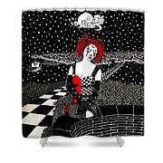 Scarlet Checkers Shower Curtain