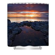 Scarlet Pools Shower Curtain