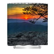 Scarlet Sky At Ravens Roost Shower Curtain