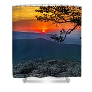 Scarlet Sky At Ravens Roost Panorama I Shower Curtain