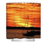 Scarlet Sunrise On Provincetown Pier 1  Shower Curtain