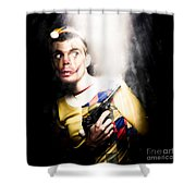 Scary Clown Standing In Shadows With Smoking Gun Shower Curtain