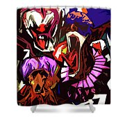 Scary Clowns Abstract Shower Curtain