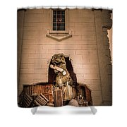 Scary Dinosaurs At Top Secret In Wisconsin Dells. Shower Curtain