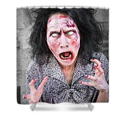 Scary Screaming Zombie Woman Shower Curtain