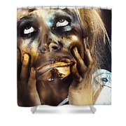 Scary Zombie Pulling Funny Face  Shower Curtain