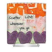 Scatter Love Shower Curtain by Linda Woods