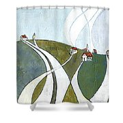 Scattered Houses Shower Curtain