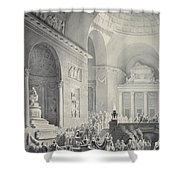 Scene In A Classical Temple  Funeral Procession Of A Warrior Shower Curtain