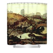 Scene In Central Park Shower Curtain