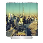 Scenic Aerial View Of Dubai Shower Curtain