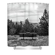 Scenic Bench In Black And White Shower Curtain