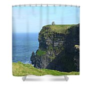 Scenic Lush Green Grass And Sea Cliffs Of Ireland Shower Curtain