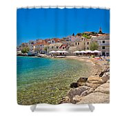 Scenic Mediterranean Beach In Primosten Shower Curtain