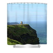 Scenic O'brien's Tower A Top The Cliff's Of Moher In Ireland Shower Curtain