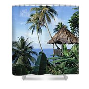 Scenic Thatched Hut Shower Curtain