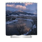 Scenic Twilight View Of The Yellowstone Shower Curtain