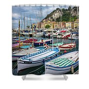 Scenic View Of Castle Hill And Marina In Nice, France Shower Curtain