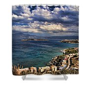 Scenic View Of Eastern Crete Shower Curtain by David Smith