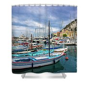 Scenic View Of Historical Marina In Nice, France Shower Curtain
