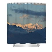 Scenic View Of The Dolomite Mountains With Snow  Shower Curtain
