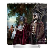 Schapendoes Art Canvas Print - Dance Before A Fountain Shower Curtain