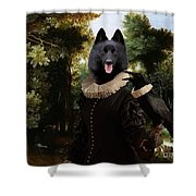 Schipperke Art Canvas Print - Forest Landscape With A Hunter And Noble Lady Shower Curtain