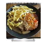 Schnitzel With Two Sauces Shower Curtain