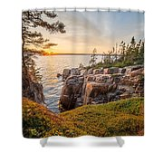 Schoodic Point Sunset Shower Curtain
