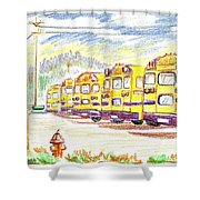 School Bussiness Shower Curtain