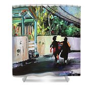School Day In Hope Town Shower Curtain