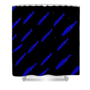 School Of Blue Fish At Night Shower Curtain
