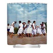 School Trip To Beach II Shower Curtain by Rafa Rivas