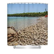 Schoolhouse Beach Washington Island Shower Curtain