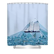 Schooner, Abstracted Shower Curtain