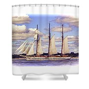 Schooner Mystic Under Sail Shower Curtain