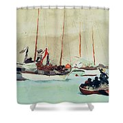 Schooners At Anchor In Key West Shower Curtain by Winslow Homer