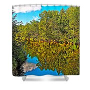 Schroon River Reflection In The Adirondacks-new York Shower Curtain
