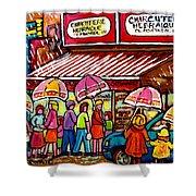 Schwartz's Deli Rainy Day Line-up Umbrella Paintings Montreal Memories April Showers Carole Spandau  Shower Curtain