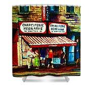 Schwartzs Famous Smoked Meat Shower Curtain by Carole Spandau