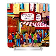 Schwartzs Hebrew Deli Montreal Streetscene Shower Curtain