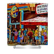 Schwartzs Lineup On St. Lawrence Montreal Streetscenes Shower Curtain