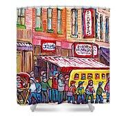 Schwartz's Smoked Meat Deli On The Main Montreal Hockey Art Scenes School Bus Painting C Spandau Art Shower Curtain