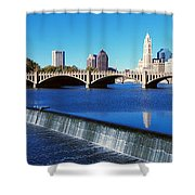 Scioto River With Waterfall Shower Curtain