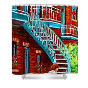Scooter Ride Along Coloniale Street Shower Curtain