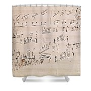 Score Sheet Of Moonlight Sonata Shower Curtain by Ludwig van Beethoven