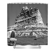 Scots Bluff Black And White Shower Curtain