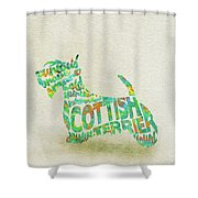Scottish Terrier Dog Watercolor Painting / Typographic Art Shower Curtain