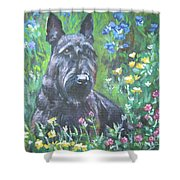 Scottish Terrier In The Garden Shower Curtain