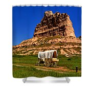 Scotts Bluff Wagon Train Panorama Shower Curtain